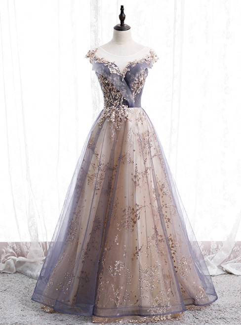 Gray Tulle Cap Sleeve Sequins Beading Long Prom Dress