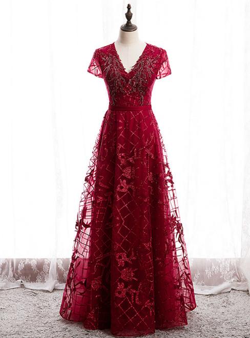 Dark Burgundy Tulle V-neck Cap Sleeve Beading Prom Dress