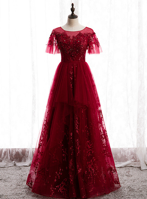 Burgundy Tulle Seuqins Short Sleeve Beading Prom Dress