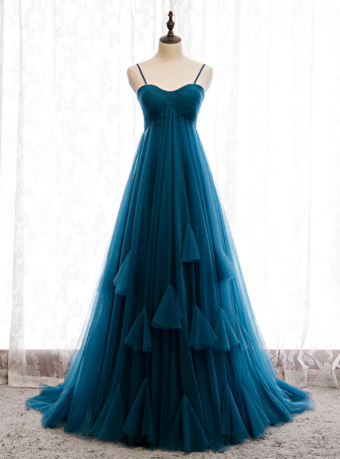 Blue Tulle Spagehtti Straps High Waist Pleats Prom Dress