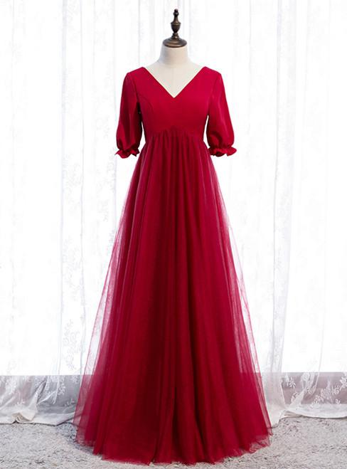 Burgundy Tulle V-neck Short Sleeve High Waist Prom Dress