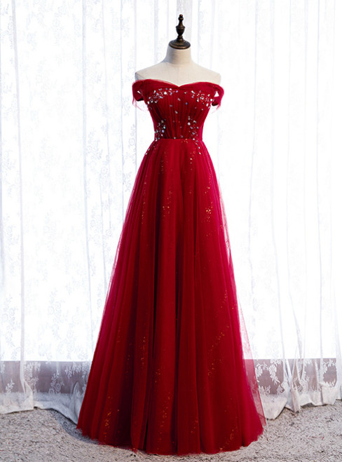 A-Line Burgundy Tulle Off the Shoulder Sequins Prom Dress
