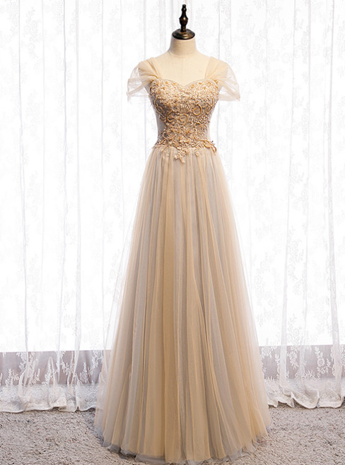 Champagne Tulle Sweetheart Beading Sequins Prom Dress