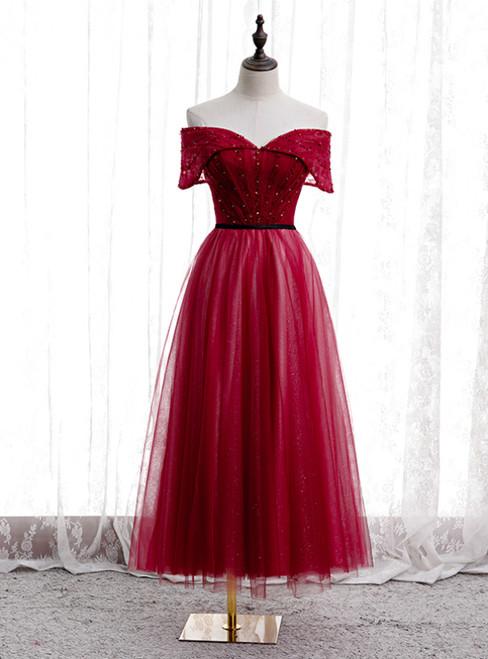 A-Line Burgundy Tulle Off the Shoulder Tea Length Prom Dress