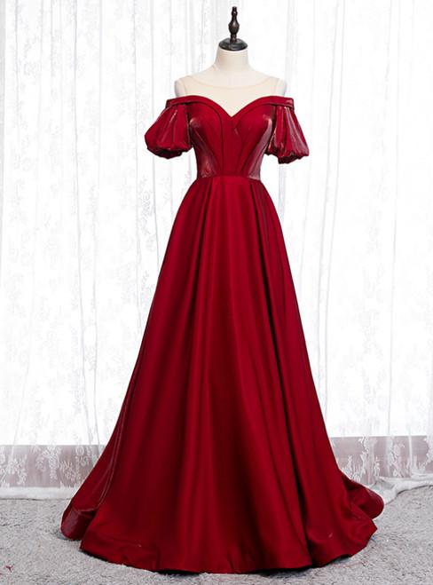 A-Line Burgundy Satin Puff Sleeve Cold Shoulder Prom Dress