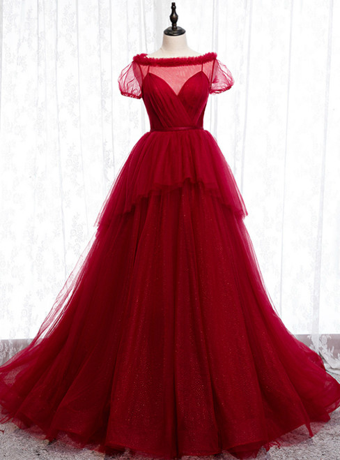 Tulle Short Sleeve Pleats Backless Burgundy Prom Dress