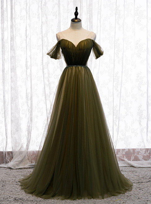 Hot Sale Dark Green Tulle V-neck Pleats Prom Dress