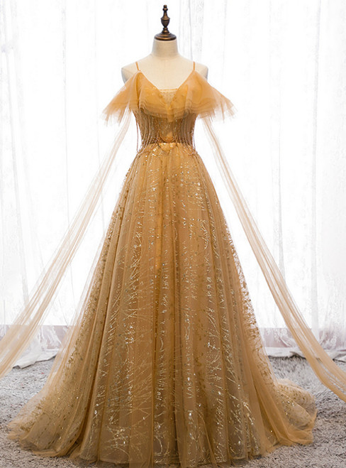 Gold Tulle Sequins Spaghetti Straps Backless Beading Prom Dress