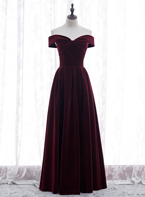 Burgundy Velvet Off the Shoulder Pleats Prom Dress