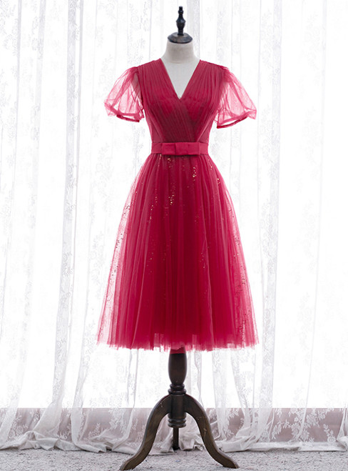 Simple Burgundy Tulle V-neck Short Sleeve Pleats Prom Dress