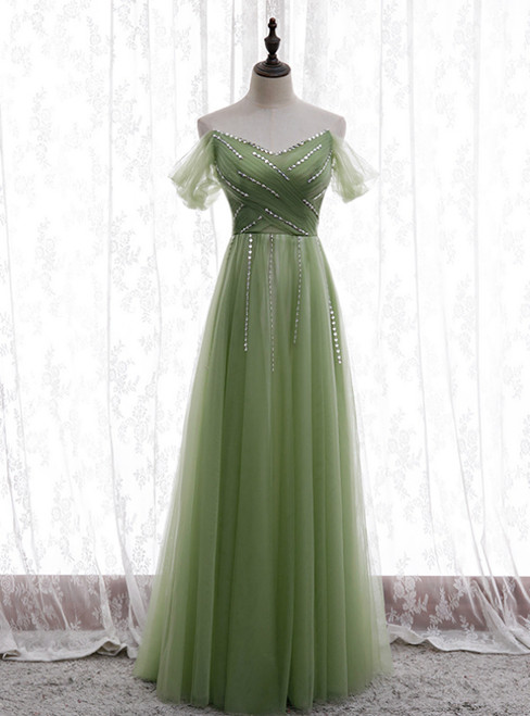 Green Tulle Strapless Pleats Beading Prom Dress