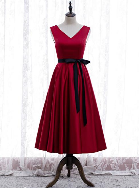 Burgundy Satin V-neck Tea Length Prom Dress With Sash
