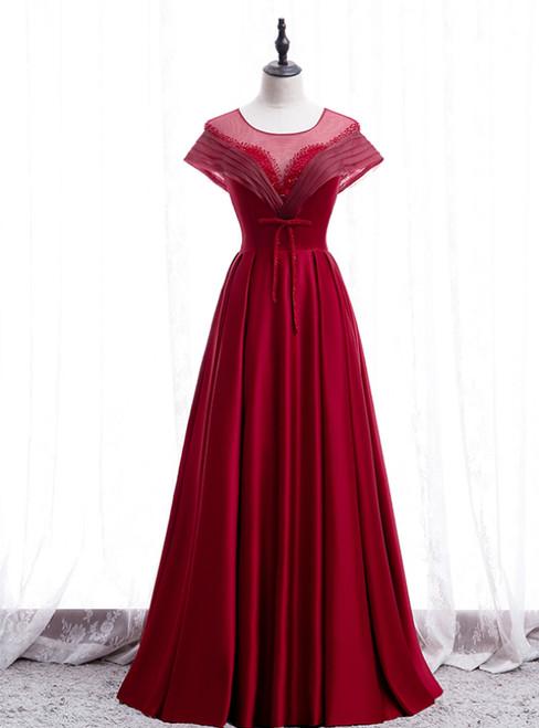 Burgundy Satin Backless Cap Sleeve Beading Pleats Prom Dress