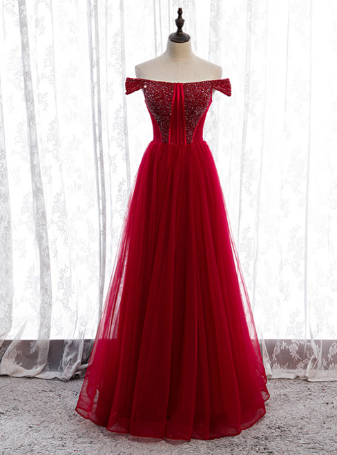 Sexy Burgundy Tulle Off the Shoulder Beading Prom Dress