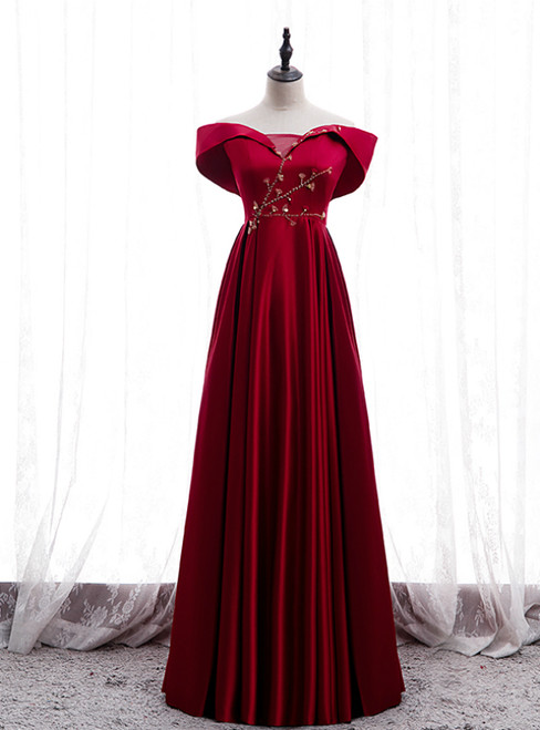 Burgundy Satin Off the Shoulder Appliques Beading Prom Dress