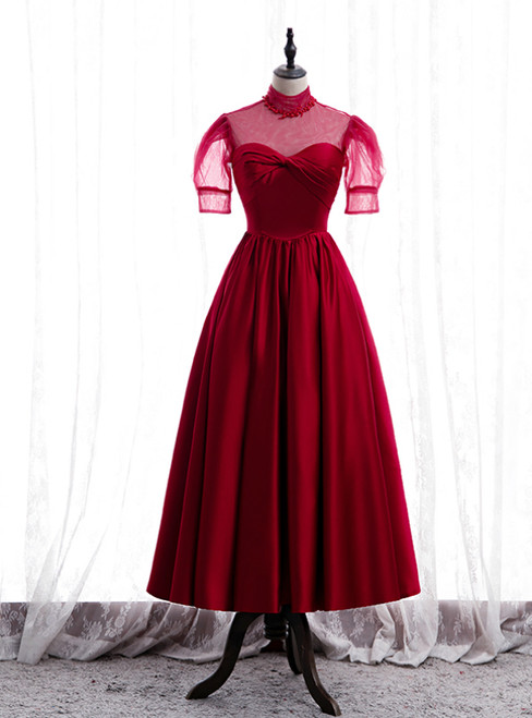 Burgundy Satin High Neck Short Sleeve Pleats Pearls Prom Dress