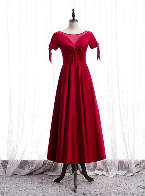 A-Line Burgundy Satin Short Sleeve Beading Prom Dress