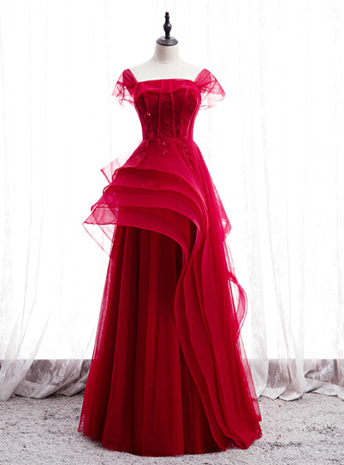 Fashion Burgundy Tulle Straps Beading Prom Dress