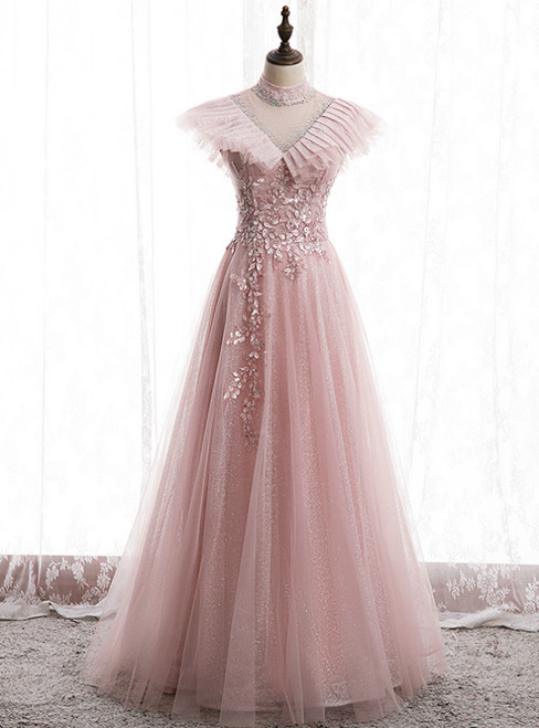 Pink Tulle Sequins High Neck Backless Appliques Prom Dress