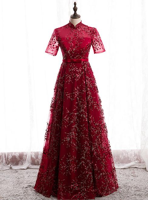 Dark Burgundy Tulle Sequins High Neck Short Sleeve Prom Dress