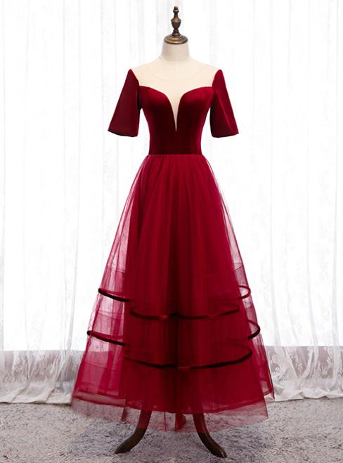 Burgundy Tulle Velvet Short Sleeve Ankle Length Prom Dress