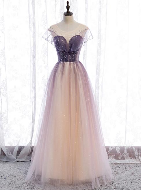 Purple Tulle Scoop Sleeve Beading Sequins Prom Dress