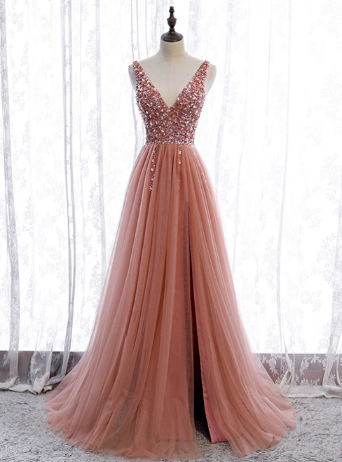 Pink Tulle Seep V-neck Backless Beading Sequins Prom Dress