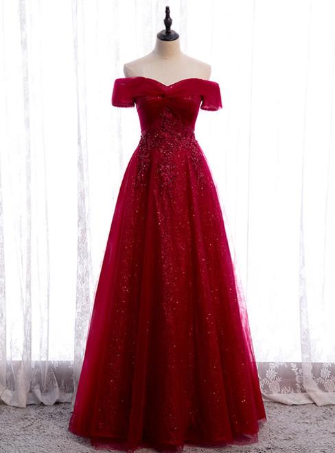 Burgundy Tulle Off the Shoulder Sequins Beading Prom Dress