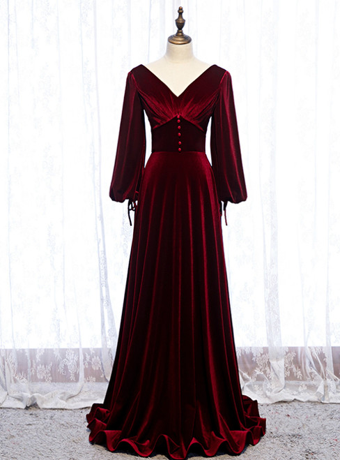 Dark Burgundy Velvet Long Sleeve V-neck Pleats Prom Dress