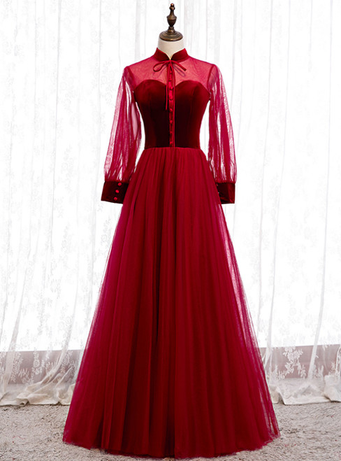 Burgundy Tulle Velvet Long Sleeve Button Prom Dress
