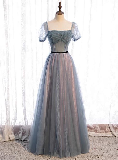 Blue Tulle Square Short Sleeve Pleats Beading Prom Dress