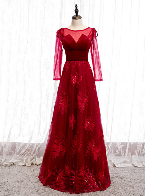 A-Line Burgundy Tulle Velvet Long Sleeve Prom Dress