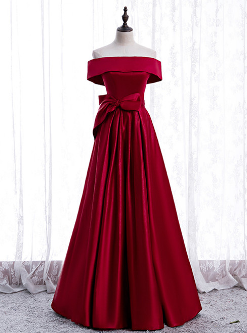 Simple Burgundy Satin Off the Shoulder Bow Prom Dress
