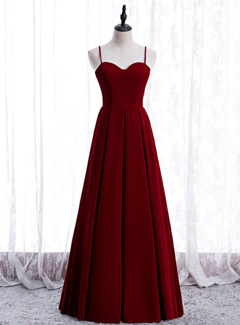 A-Line Burgundy Velvet Spagehtti Straps Pleats Prom Dress
