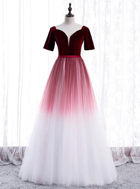 Burgundy White Tulle Velvet Short Sleeve Prom Dress