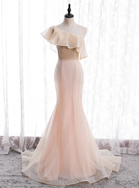 Champagne Pink Mermaid Sequins One Shoulder Prom Dress