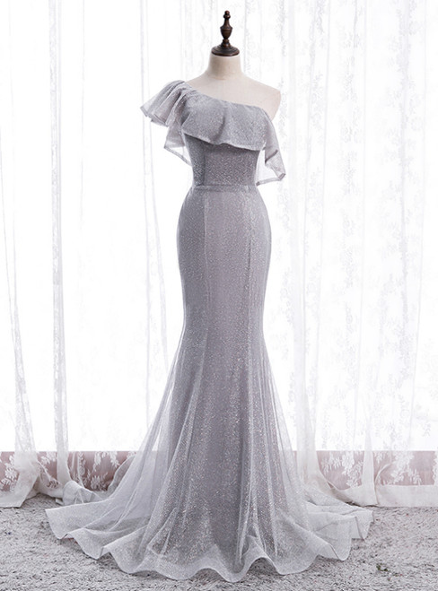 Silver Gray Mermaid Sequins One Shoulder Prom Dress
