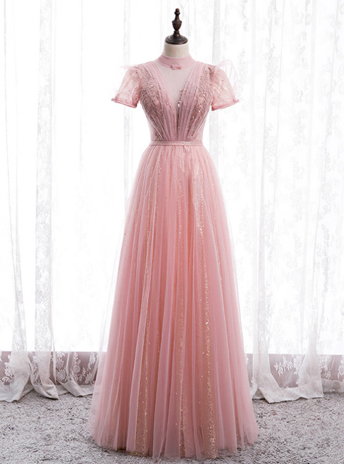Pink Tulle Sequins High Neck Short Sleeve Beading Pleats Prom Dress