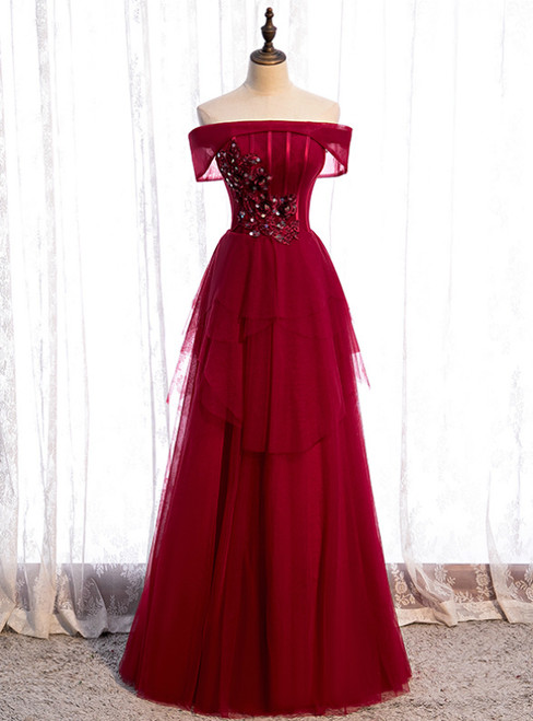 Stylish Burgundy Tulle Off the Shoulder Appliques Beading Prom Dress