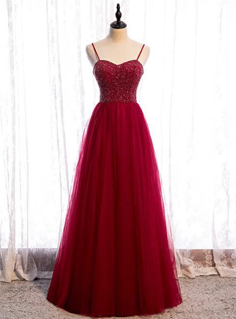 Modern Burgundy Tulle Spaghetti Straps Beading Prom Dress