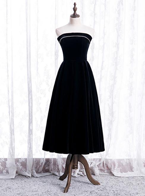 Cheap Black Velvet Strapless Tea Length Prom Dress