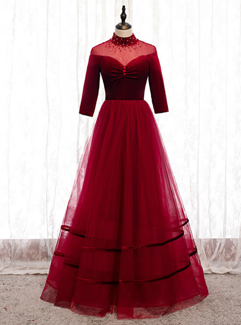Burgund Tulle Velvet Half Sleeve Beading Prom Dress
