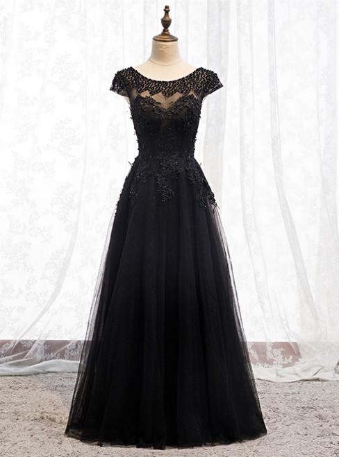 Black Tulle Cap Sleeve Appliques Beading Prom Dress