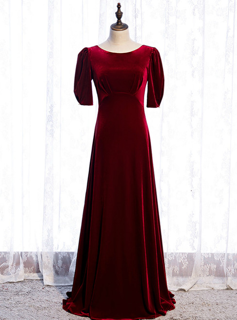 A-Line Burgundy Velvet Short Sleeve Pleats Prom Dress