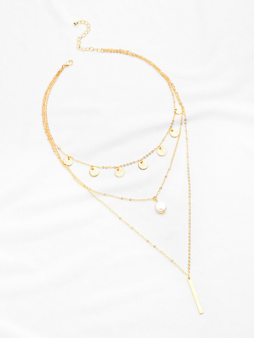 Faux Pearl And Bar Pendant Chain Necklace