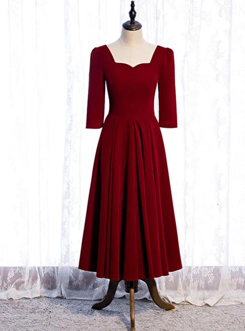 Velvet Short Sleeve Square Tea Length Prom Dress