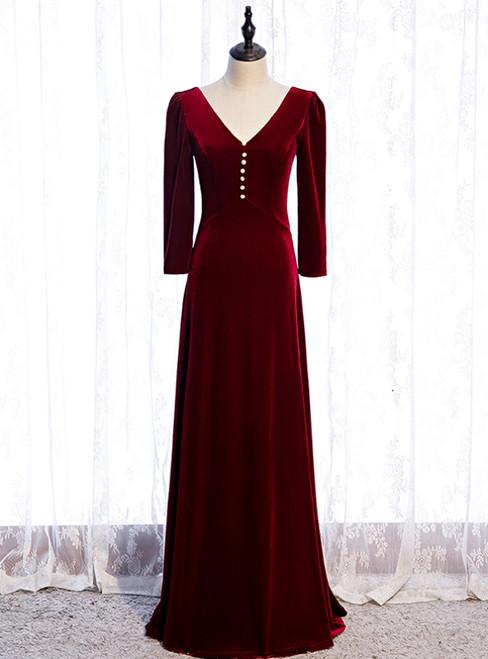 V-neck Long Sleeve Velvet Burgundy Prom Dress