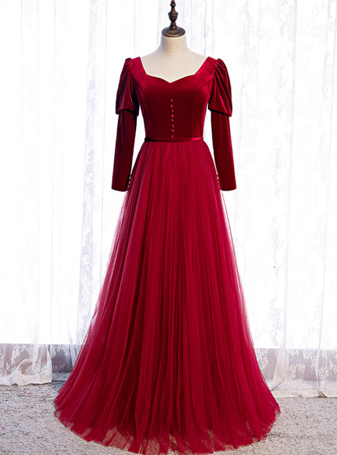 Burgundy Tulle Velvet Long Sleeve Square Long Prom Dress