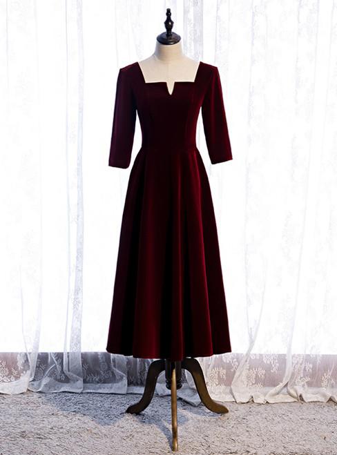 Burgundy Velvet Short Sleeve Square Tea Length Prom Dress