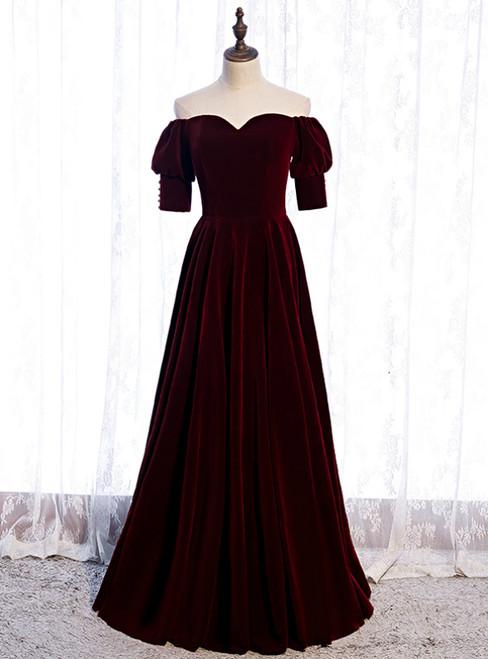 Burgundy Velvet Off the Shoulder Short Sleeve Prom Dress